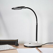 LED-Schreibtischlampe Ivan in Hellgrau und Schwarz
