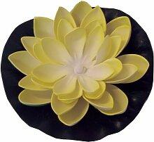 LED-Schwimmlicht Seerose gelb 18cm leuchtet bei Wasserkontak
