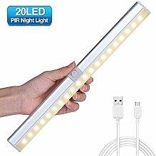 LED Sensor Leuchte,GLIME LED Unterbauleuchte Schrankbeleuchtung mit Bewegungsmelder und Lichtsensor Schranklicht Sensorik Schranklampe für Garderobe / Treppen / Korridor /Schubfach USB-Ladung DC 5V warm Weiß [Energieklasse A]