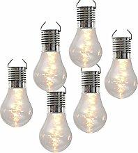LED Solar 6er Set Glühbirnen leuchtende