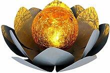 LED Solar Außen Garten Lotus-Blüte Blume Deko