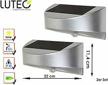 LED Solar Außenleuchte BREAD mit Bewegungsmelder im 2er Set, Wandleuchte Downlight, IP44