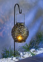 LED Solar-Gartenlaterne 100cm Gartenleuchte Kerzenhalter Gartendeko Gartenlampe
