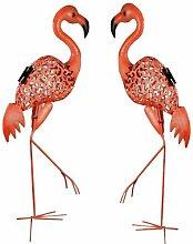 LED Solar Gartenleuchte Flamingo Paar 68,5 cm