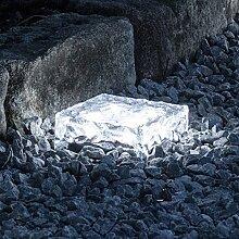 LED Solar Glas Pflasterstein Wegbeleuchtung weiß