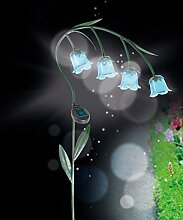 LED Solar Leuchten Glockenblume 4 LEDs Solarlampe Designer Gartendeko beleuchtete mit Metall Stab und Erdspieß