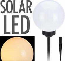 LED Solar Leuchtkugel - Kugelleuchte 20 cm in warmweiß - Solarleuchte Garten Lampe Solar Kugel