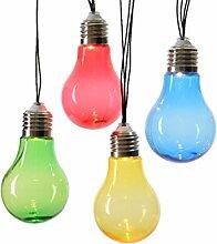 LED Solar Lichterkette 10 tlg. Glühlampe bunt