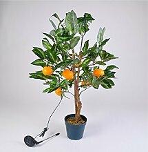 LED Solar Mandarinen-Baum 90cm Orangen Bäumchen Obstbaum Kunstpflanze Gartendeko