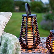 LED Solar Rattan Lampe Gartendeko 25cm Lights4fun
