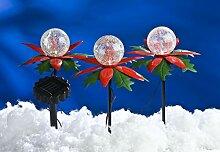 LED Solar-Weihnachtsterne 3er mit Farbwechsel