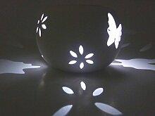 LED Solar Windlicht Schmetterling weiß Keramik