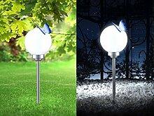 LED Solarlampe mit Erdspieß Wegelampe Solar Außenleuchte Wegbeleuchtung Schmetterling Kugel (Gartenlampe, Solarleuchte, Gartenleuchte, Außenlampe, Höhe 64 cm)