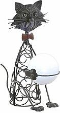 LED Solarleuchte Katze Metall Solarlampe