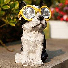 LED Solarleuchte Solarbetriebene Gartenleuchte Energie sparende Solarlampe Weiß Wasserdicht Außenleuchte IP65 Bodeneinbauleuchte Hund für Outdoor Garten (Gelb)