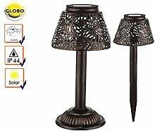 LED Solarleuchte Tischlampe außen, auch mit Erdspieß verwendbar, Schalter, Globo Lighting