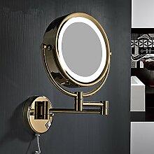 Led-Spiegel im europäischen Stil mit einziehbaren Falten doppelseitiger Spiegel Make-up-Spiegel Bad Spiegel Wandhalterung Make-up-Spiegel,8-Zoll-LED-Licht (gold)