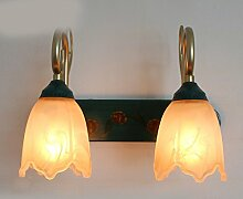 LED-Spiegel-Wandleuchte europäischen ländlichen Spiegel Scheinwerfer American ländlichen WC Wandschiff Schlafzimmer Nachttisch Lampe Wandleuchte Make-up-Spiegel