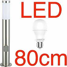 LED Stand-Außenleuchte 80cm mit 2 Steckdosen &