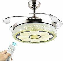 LED-Stealth-einziehbarer Deckenventilator beleuchtet Wohnzimmer-Schlafzimmer-Esszimmer-Haushalts-variable Frequenz-Ventilator-Lichter mit elektrischem Ventilator-Decken-Leuchter 36 Zoll 42 Zoll-Wand-Steuerung / Fernsteuerungsdimmen Deckenventilatoren mit Beleuchtung