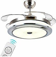 LED-Stealth-einziehbarer Deckenventilator beleuchtet Wohnzimmer-Schlafzimmer-Esszimmer-Haushalts-variable Frequenz-Ventilator-Lichter mit elektrischem Ventilator-Decken-Leuchter 36 Zoll 42 Zoll-Wand-Steuerung / Fernsteuerungsdimmen Xuan - worth having ( Farbe : Remote Control , größe : 91*43cm 48w )