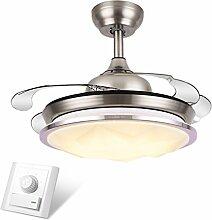 LED-Stealth-einziehbarer Deckenventilator beleuchtet Wohnzimmer-Schlafzimmer-Esszimmer-Haushalts-variable Frequenz-Ventilator-Lichter mit elektrischem Ventilator-Decken-Leuchter 36 Zoll 42 Zoll-Wand-Steuerung / Fernsteuerungsdimmen Xuan - worth having ( Farbe : Wall Control , größe : 91*43cm )