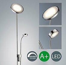 LED Stehlampe inkl LED Platine 230V IP20 21W LED Stehleuchte modern Deckenfluter mit Leselampe LED Standleuchte mit Drehschalter warmweiss dimmbar Metall-Glas matt nickel 2000lm 21 Watt schwenkbar Wohnzimmer