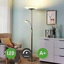 LED Stehlampe Judie dimmbar (Modern) in Alu aus Glas u.a. für Wohnzimmer & Esszimmer (2 flammig, A+, inkl. Leuchtmittel) von Lampenwelt   LED-Stehleuchte, Wohnzimmerlampe