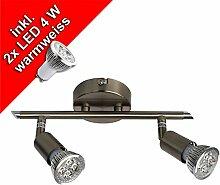 LED Strahler Deckenleuchte, Spot, Deckenlampe GU10, 2 x 4 Watt, 280 Lumen, nickelmatt, warmweiss