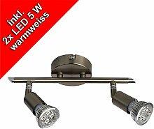 LED Strahler Deckenleuchte, Spot, Deckenlampe GU10, 2 x 5 Watt, 340 Lumen, nickelmatt, warmweiss