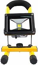 LED Strahler Fluter Leuchte Scheinwerfer Flutlicht Baustrahler Außenleuchte Kaltweiß 10W 750 Lumen, wasserdicht IP65, Wiederaufladbar, 12-24V DC/220V AC