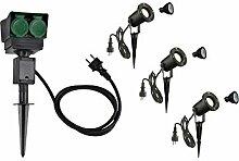 LED Strahler NAUTILUS XL 3er Set mit Erdspieß, 4-fach IP44 Gartensteckdose 1,5m, 3x GU10 Leuchtmittel | Außenlampen für Beleuchtung von Garten, Pflanzen, Wegen, Teich | Aussen-Leuchte, Außen-Strahler