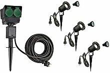 LED Strahler NAUTILUS XL 3er Set mit Erdspieß, 4-fach IP44 Gartensteckdose 10m, 3x GU10 Leuchtmittel | Außenlampen für Beleuchtung von Garten, Pflanzen, Wegen, Teich | Aussen-Leuchte, Außen-Strahler