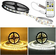 LED streifen 5M, Laluztop Led Licht Streifen Led Strip Warmweiß/Kaltweiß 300 LEDs(5050) , Weiß