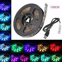 LED Strip Streifen, GLISTENY Hintergrundbeleuchtung Stripe Licht Beleuchtung RGB IP65 Wasserdicht Dekorative Flexible Licht Zeichenkette für TV Lichterkette Fernsehapparat Notizbuch 50-200 cm+USB Kabel DC5V 150CM Strip