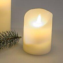 LED Stumpen Kerze mit Timer 10x7cm creme weiß