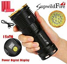 LED Taschenlampe 50000 Lumen, Gusspower 15 x XM-L