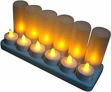 LED Teelichter 12er Set gelb mit Windglas und