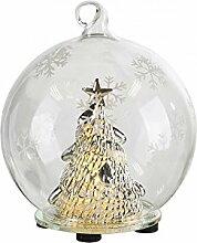 LED Tisch Deko Lampe Glas Kugel Weihnachten Winter