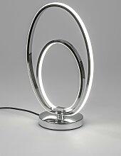 LED Tischlampe, Leuchte Oval H. 38cm silber aus