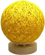 LED Tischleuchte Rattan Kugel gelb