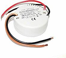 LED Trafo 12Watt IP20 rund für LED Schränke, Möbel, Bad, Decken Einbaustrahler Einbauspots Einbauleuchten 12V Gleichspannung Durchmesser 55mm Höhe 23mm