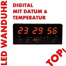 LED Uhr Led Wanduhr mit Datum und Temperatur