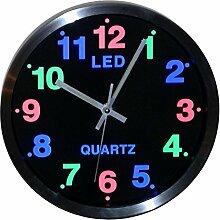 Led Uhr Wanduhr Leduhr Netzteil Nachbeleuchtung Geräuschloses Uhrwerk Bar 25cm