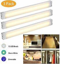 LED Unterbauleuchte EECOO LED Schrankbeleuchtung mit dimmbare,12 W,1005 LM,Warmes Weiß 3000K,72 LEDs,12V DC,ideal für Schrank, Küche,Schranklampe Lichtleiste Unterbauleuchte,3er Pack