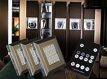 LED Unterbauleuchten 3-er Set Dimmbar mit Fernbedienung kalt weiß / Mod. 2116-3/4154möb / Schrankleuchten Schrankleuchte Kleiderschrankleuchte Möbelbeleuchtung Aufbauleuchte Vitrinenleuchte Spiegelleuchte Set mit Netzteil und Controller