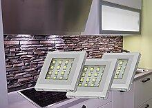 LED Unterbauleuchten Alu kalt weiß 3-er Set mit Möbeltrafo / Set 2116-3/4189-6W / Schrankleuchten Möbelbeleuchtung Aufbauleuchte Vitrinenleuchte Spiegelleuchte Schrankleuchte Vitrinenbeleuchtung Deko Lichter Set mit Netzteil