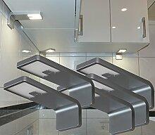 LED Unterbauleuchten mit Zentralschalter Alu 5-er Set + Trafo / Art.2215-5 / 4,2 Watt Küchenbeleuchtung Schrankleuchten Unterbauleuchte Aufbauleuchte Möbelbeleuchtung Schrankbeleuchtung