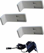 LED Unterbauleuchten mit Zentralschalter / Art.2216-3 / 3-er Set + Trafo / 4,2 Watt 4500K / Küchenbeleuchtung / Schrankleuchten / Unterbauleuchte / Aufbauleuchte