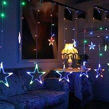 LED Vorhang Lichterkette,SUAVER 2m 138LED 12 Stern